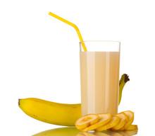 Banana Juice With Bananas Isolated On White