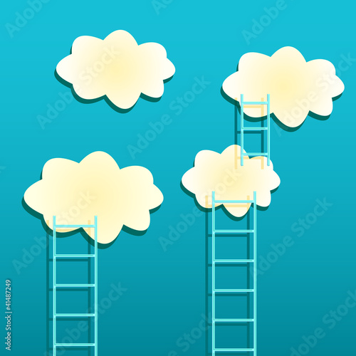 Poster Ciel Yellow Clouds with Ladders on Green Background