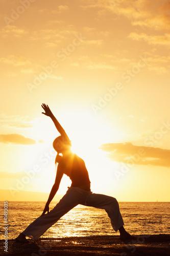 Foto-Stoff bedruckt - Silhouette of a Beautiful Yoga Woman at Sunset (von EpicStockMedia)