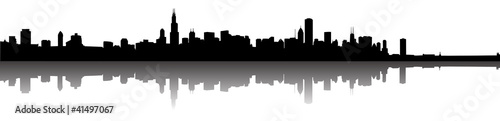 Fotografie, Obraz Chicago Skyline Silhouette