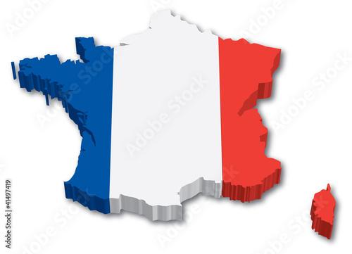 Plagát  3D France map with flag