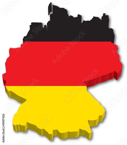 Fotografie, Obraz  3D Germany map with flag