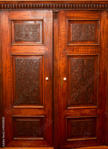 Old fashion wardrobe with carving