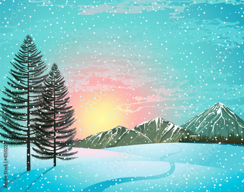 Poster Turquoise Sunset winter landscape