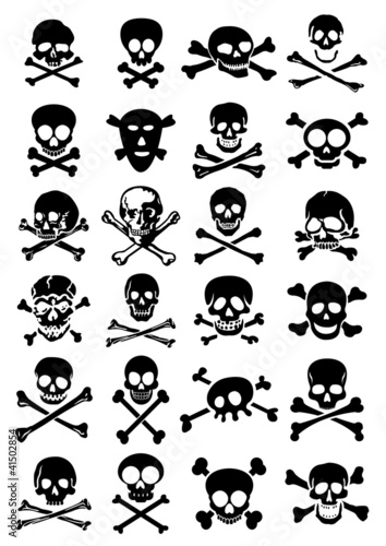 Photo  Skulls & Crossbones vector collection in white background