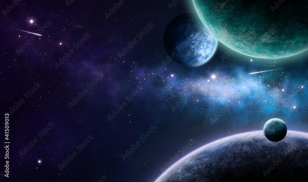 Fototapety, obrazy: blue and purple nebula