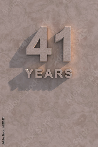 Poster  41 years 3d text