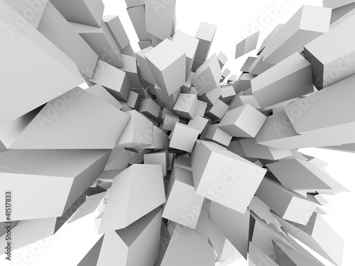 Abstract 3D cubes explode background.