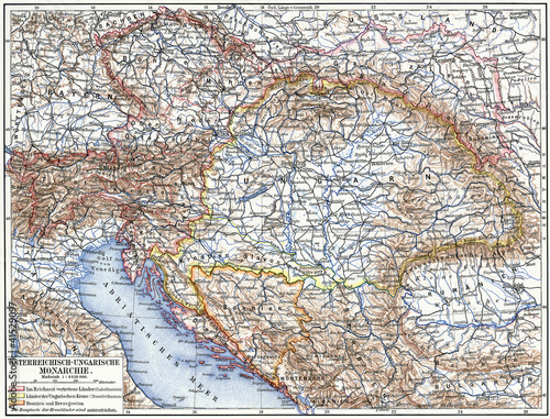 Map of Austro-Hungarian monarchy. Tablou Canvas