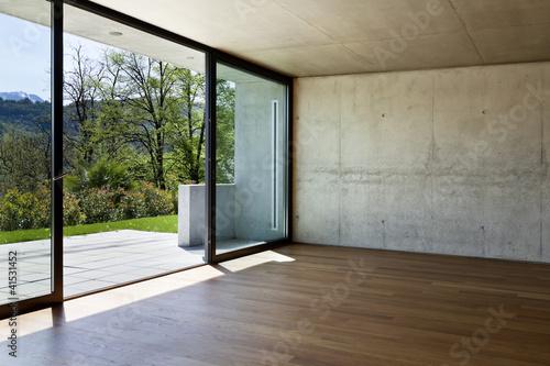 Fotografía interior modern apartment, angle window and wall