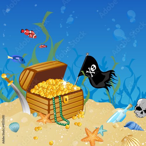 Photo Stands Pirates Vector illustration of an underwater treasure chest