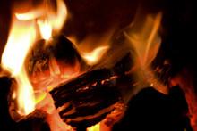 Peat Briquettes Burning