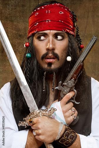 Naklejka premium Niezadowolony pirat