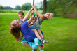 canvas print picture - children having fun with flying fox