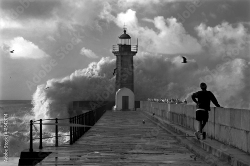 Photo sur Toile Phare Lighthouse, Foz do Douro, Portugal