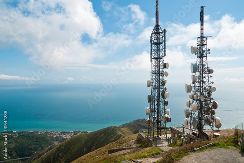Photo telecommunications towers landscape