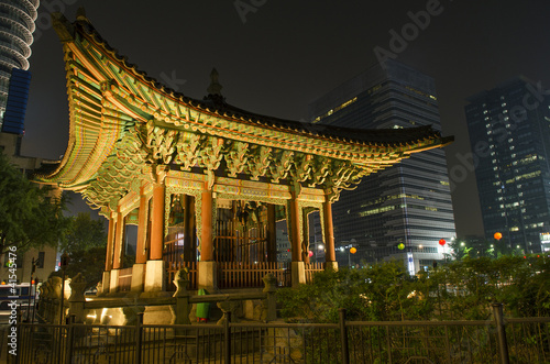 temple in central seoul south korea at night Poster