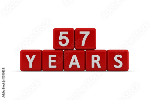 Photo  Red letter cubes 57 years