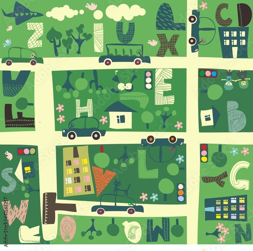 Poster de jardin Route find alphabet on a seamless cartoon map