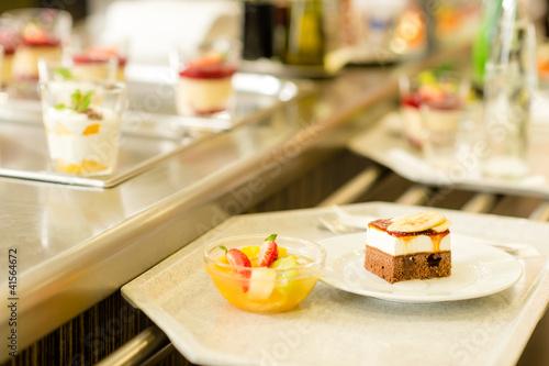 Foto op Aluminium Buffet, Bar Desserts on serving tray cafeteria self service