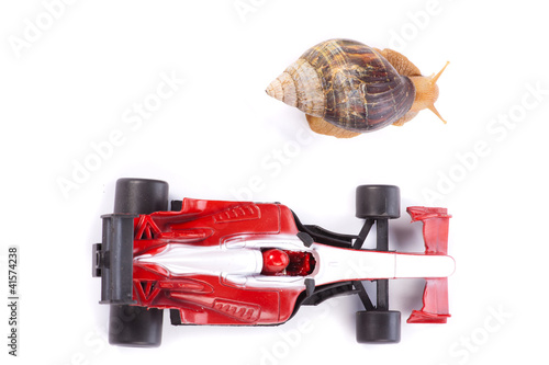 Foto op Plexiglas F1 Formula 1 Snail race from above
