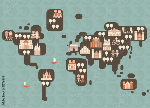 Spoed Foto op Canvas Op straat funky cartoon map of the world