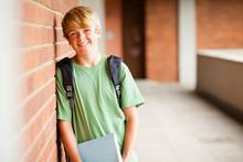 Happy Teen Student In School