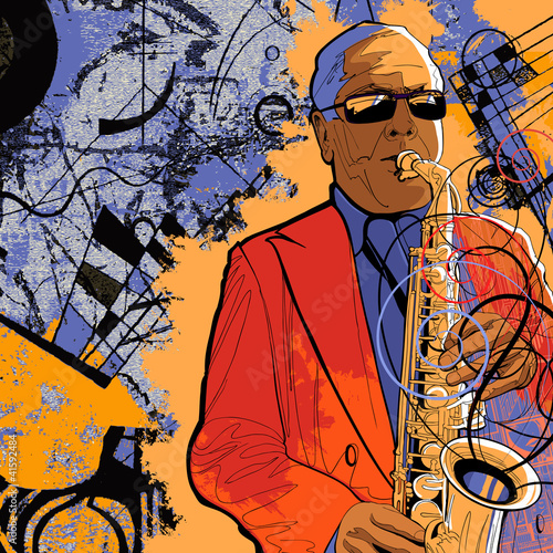 Poster Muziekband saxophonist on a grunge background