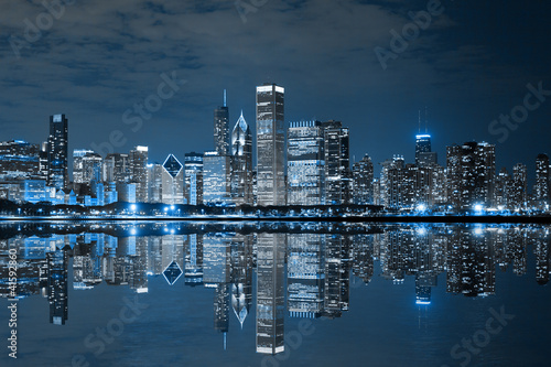 Foto op Canvas Chicago Chicago Downtown at Night