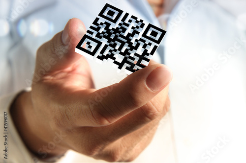 Fotografie, Obraz  business hand shows 3d Qr code