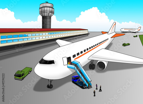 Montage in der Fensternische Flugzeuge, Ballons Cartoon illustration of airport