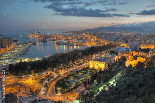 Malaga city lights - aerial view