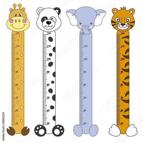 Door stickers Height scale Medidor de pares para niños. Animales salvajes