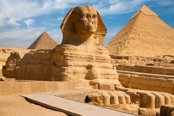 Obraz na Plexi Full Sphynx Profile Pyramid Giza Egypt