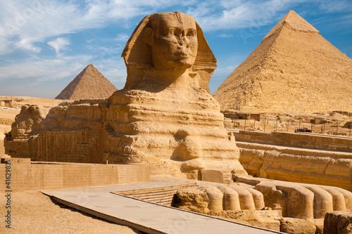 Full Sphynx Profile Pyramid Giza Egypt