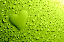 Water Drops And  Heart Shape On Green Background