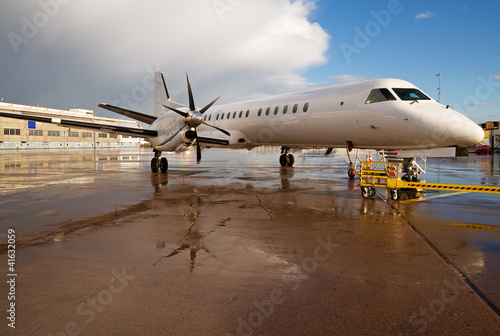 Fotografia, Obraz  White aircraft at the airport.