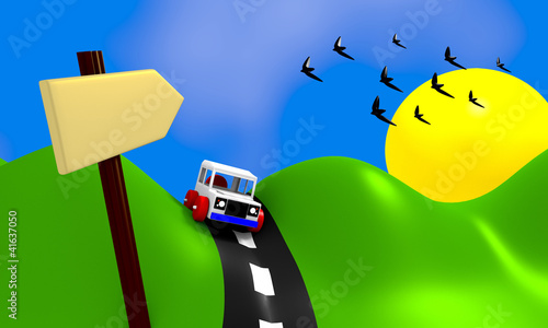 Poster Oiseaux, Abeilles Landscape with car and road sign