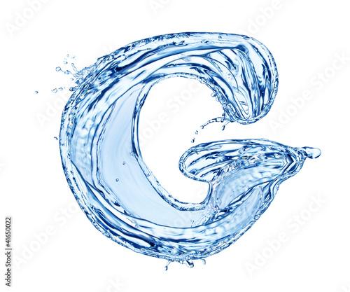 Fototapeta Water letter symbol, isolated on white background obraz na płótnie