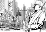 saksofonista na ulicy w Nowym Jorku - 41654441