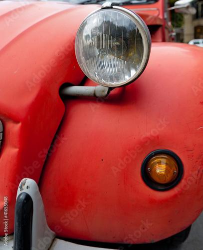 Vászonkép Red Vintage car detail