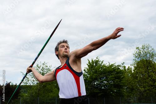 Spoed Foto op Canvas Gymnastiek Speerwerfer