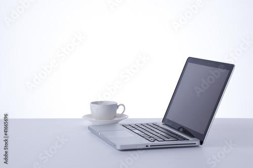 Fototapeta personal computer and coffee obraz na płótnie