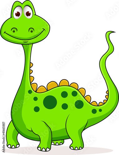 Ingelijste posters Dinosaurs Cute green dinosaur cartoon