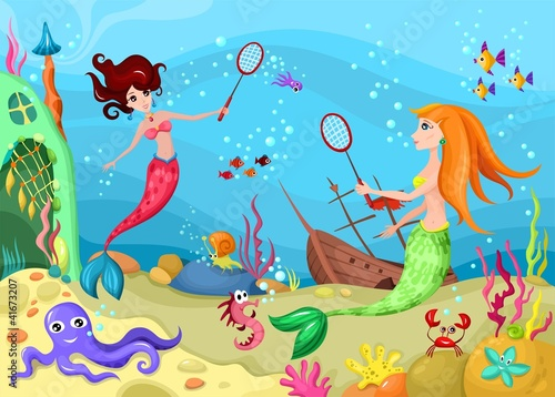 Wall Murals Mermaid sea life