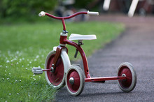 Red Child Bicycle In A Garden