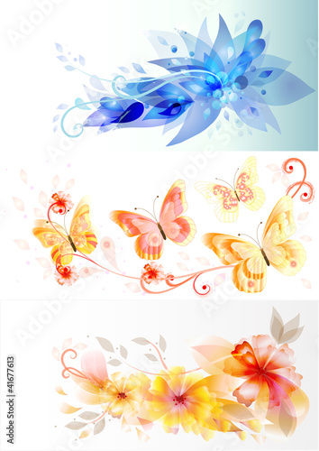 Tuinposter Business vector cards with elegant flowers design