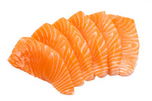 Sliced Raw Fatty Salmon Isolated On White