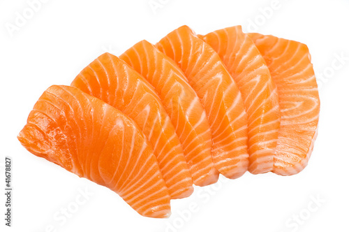 Fotografie, Obraz  Sliced raw fatty salmon isolated on white