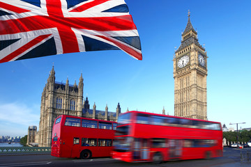 Fototapeta Londyn Big Ben with city bus and flag of England, London